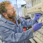"The Molecular Foundry's Ron Zuckermann is designing two-dimensional peptoid nanosheets — a material made of biomimetic polymers, two molecules thick — that could one day be used to make sensors that detect lethal chemical agents or deadly viruses deployed during warfare or a terrorist attack. <a href=""http://today.lbl.gov/mimicking-nature-for-homeland-security/"">More></a>"
